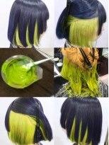 ネイビーブルーカラー&黄緑カラーモード3Dカラーミニマムボブ