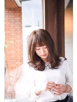 ヘアデザイン ロッコ(hair design ROCCO)春色グリーンアッシュ×鎖骨ミディ