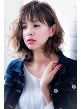 ヘアーアートシフォン 川口東口店(hair art chiffon)厚めバングor斜めバングでボルドーのクラシカルワンレンセミディ