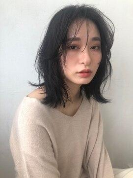 シェノン 西梅田(CHAINON)セミウェットウェーブ/ダークグレージュ/似合わせ/小顔