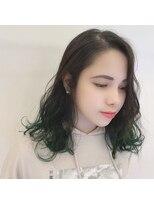 ネオヘアー 曳舟店(NEO Hair)グリーン裾カラー(曳舟)