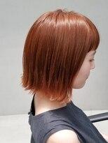 テトヘアー(teto hair)オレンジ 外ハネボブ ボブ オレンジベージュ