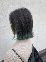 ヘアプレイスソル (HAIR PLACE SoL)★裾カラー エメラルドグリーン★