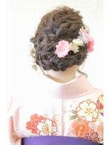 袴着物→洋服にも合う編み込みアレンジ