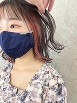 フェイスフレーミング前髪インナーカラーピンクベージュ20代小顔
