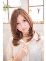 【miel hair blanc】ピーチオレンジの愛されストレート☆
