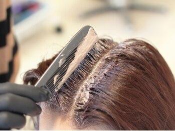 サヴォイアンジュ(SAVOY ange)の写真/大曽根/森下◆駐車場有/白髪染めは地肌に薬剤をなるべく付けないようにコームでの塗布もさせて頂きます♪