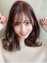 アフロート ワールド 渋谷(AFLOAT WORLD)渋谷アフロート 張替 透明感暖色カラー ミディアムヘア