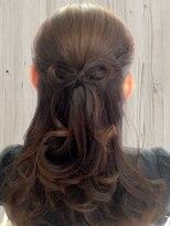 ヘアーアンドメイクサロン ハナココ(hair&make salon hana Coco)プレゼントリボンハーフアップ 結婚式 二次会 お呼ばれヘア 水戸
