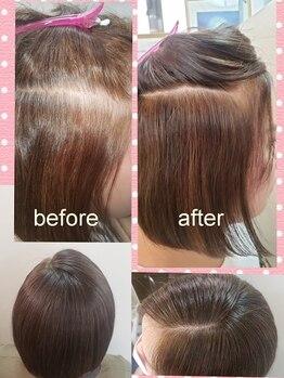 カット&エスティ カミキリ 髪綺里の写真/【カラーのダメージが気になる方に◎】髪と地肌に優しい100%自然由来のヘナカラーはトリートメント効果も◎