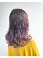 ヘアメイク オブジェ(hair make objet)グレージュ&パープルハイライト