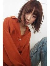 デパール 表参道店(depart)オレンジ3Dカラーひし形ジグザグバングミディアム