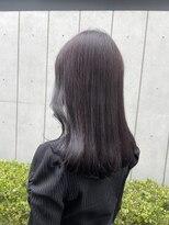 *ブリーチなし透明感カラー暗髪ラベンダーグレージュパープル