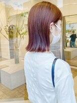 ヘアーアイスカルテット(HAIR ICI QUARTET)オレンジカラー ロブ ボブ 切りっぱなし
