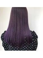 暗髪×パープルアッシュで透け感カラー