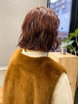 ボブパーマ暖色系カラー暖色くるくるオレンジレッドコーラル
