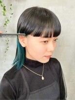 テトヘアー(teto hair)インナーカラー ブルーグリーン ターコイズ ワイドバング