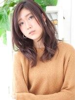 リビングユー(Livingu you)マルサラブラウンカラー前髪なしゆるナチュラル巻き髪セミロング