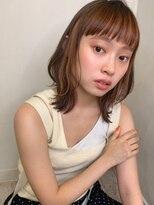 マリア(Maria by afloat)【山田】バングカラーオレンジインナーカラーくびれ外ハネミディ