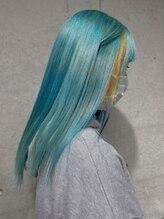 ガルボ ヘアー(garbo hair)#garbohair #個性派カラー #水色 #成人式 #にしむら
