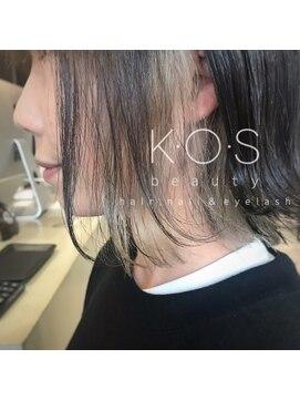 ケーオーエス(KOS beauty hair, nail & eyelash)インナーカラー×ミルクティー