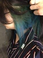 ヘアサロンエム フィス 池袋(HAIR SALON M Fe's)ブルー×グリーンインナーグラデーション
