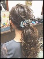 秋葉原コットン ヘアセット専門店ドライフラワー髪飾り ふわふわルーズローポニー