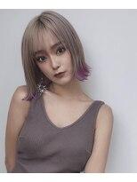 ドォート(Dote hair make)【林's】外ハネミニボブ×パープル裾カラー 前髪シースルー