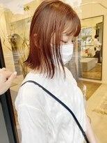 ヘアーアイスカルテット(HAIR ICI QUARTET)オレンジカラー ボブ ロブ 切りっぱなし