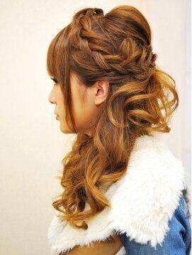 結婚式の髪型(ヘアアレンジ)  ふわゆるあみこみハーフアップ C-10