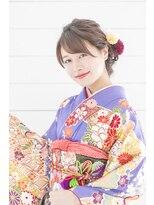 着物ヘア♪ロープ編みふわふわアップスタイル☆