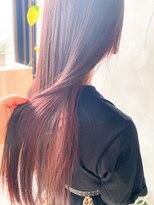 テトヘアー(teto hair)赤髪 さらさら ストレート ロング ピンク レッド ayame