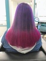 マーメイドヘアー(mermaid hair)パープル→ローズレッドのグラデーション