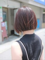 ヘアー ライズ(hair RISE)ダークベルベットピンクツヤサラボブ