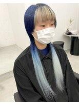 ネイビーブルー×ホワイト/派手髪