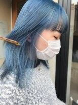 ヘアー アイス ルーチェ(HAIR ICI LUCE)ブリーチ☆水色カラー ペールブルー 透明感カラー 担当山中