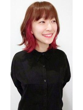 グランヘアー 豊岡店(GRAN HAIR)インナーカラーピンク ミディアム