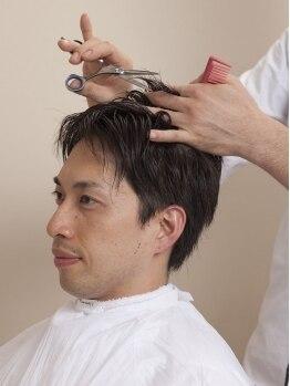 ヘアーサロンヤマギシ 恵比寿ガーデンプレイス店(hair salon YAMAGISHI)の写真/【カット¥3800/+グレイコントロール¥6000】シェービング、顔ほぐしなども受けられるのは<理容室>Yamagishi