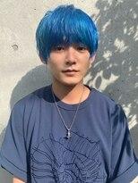ハイトーンカラー くすみブルー マッシュヘア