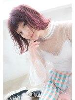 【Lufeli】ピンクハイライト*切りっぱなしボブ*オン眉