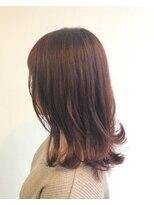 ヘアメイク オブジェ(hair make objet)ピンクブラウン ミディー