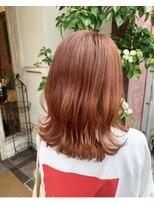 ボアップ(boappu)韓国 イルミナカラー 前髪カット オレンジ ケアブリーチ