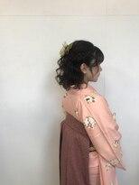 袴ヘア 着物ヘア 着付け&波ウェーブハーフアップアレンジ