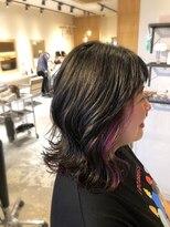 アミィヘアー(Ami Hair)切りっぱなしボブ×黒髪×インナーピンクパープル