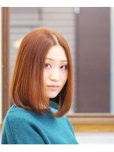 美容室 ドリームスタイル 大阪店顔を包むワンカール×オレンジベージュカラー