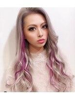 【ankhcross AYANO】ホワイトグレーに紫メッシュ