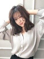 ジアン NU茶屋町+(GIEN)韓国風シースルーバングと重めミディアムスタイル