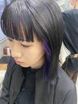 テトヘアー(teto hair)ワイドバング インナーカラー 紫 パープル