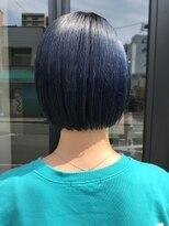 ヘアー アイス ルーチェ(HAIR ICI LUCE)ブリーチ☆ミニボブ ネイビー 青 ボブ 担当山中