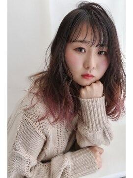 リジェール 黒川店【グラデーションカラー】ミディアム×ピンクグレー